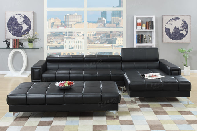Poundex Black Bonded Leather Sectional Sofa
