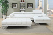 Load image into Gallery viewer, Poundex White Bonded Leathers Sectional Sofa
