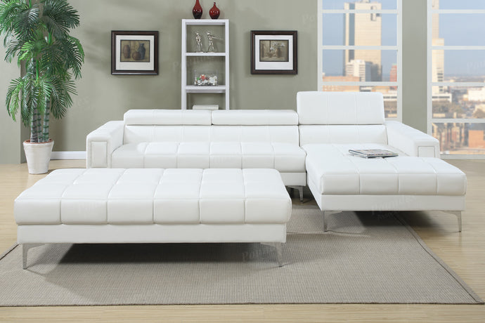 Poundex White Bonded Leathers Sectional Sofa