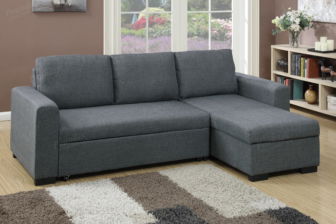 Poundex Blue Grey Fabric Storage Chaise Sectional Sofa