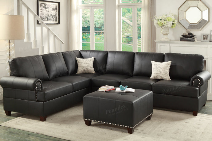 Poundex Black Bonded Leather Reversible Sectional Sofa
