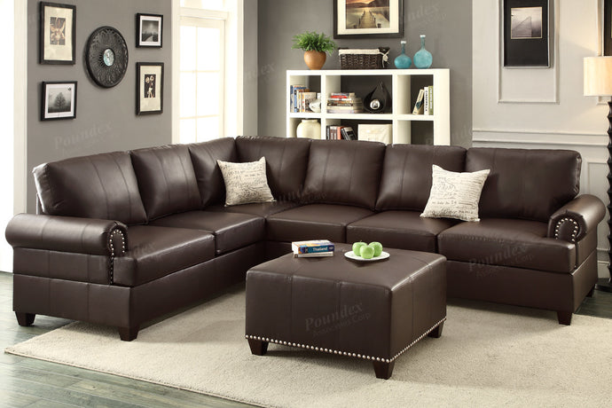 Poundex Espresso Bonded Leather Reversible Sectional Sofa