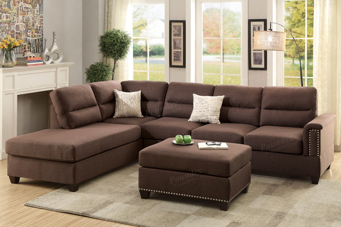 Poundex Chocolate Polyfiber Reversible Sectional Sofa Set