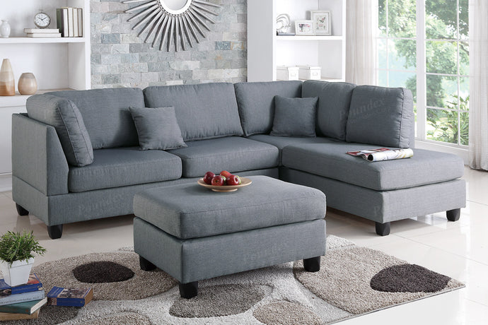 Poundex Grey Fabric Reversible Chaise Sectional Sofa Set
