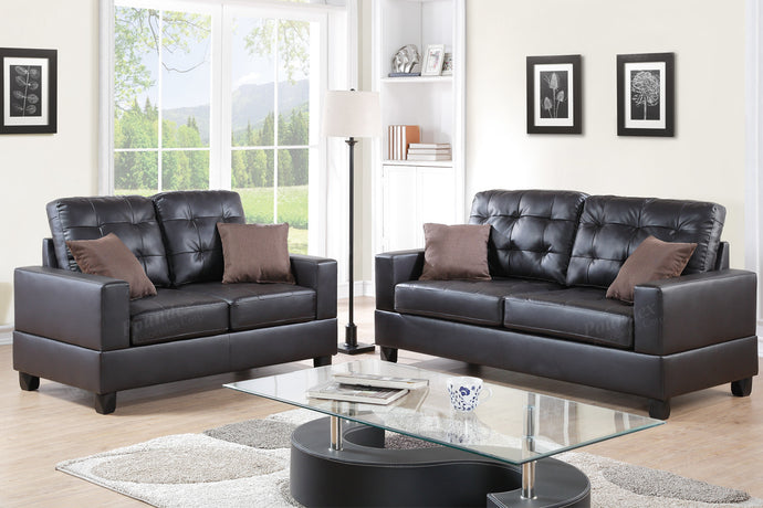 Poundex 2 Pcs Espresso Faux Leather Sofa Loveseat Set