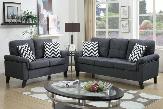 Poundex 2 Pcs Blue Grey Fabric Sofa Loveseat Set