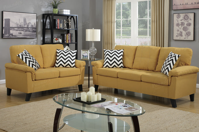 Poundex 2 Pcs Citrus Fabric Sofa Loveseat Set