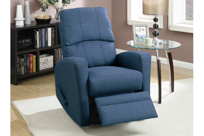Poundex Navy Polyfiber Swivel Chair Recliner
