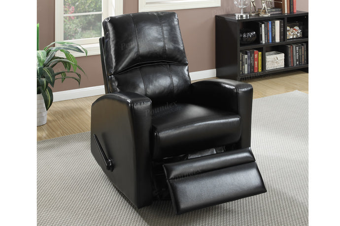 Poundex Black Faux Leather Swivel Chair Recliner