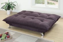 Load image into Gallery viewer, Poundex Dark Coffee Velvet Fabric Futon Sofa Bed