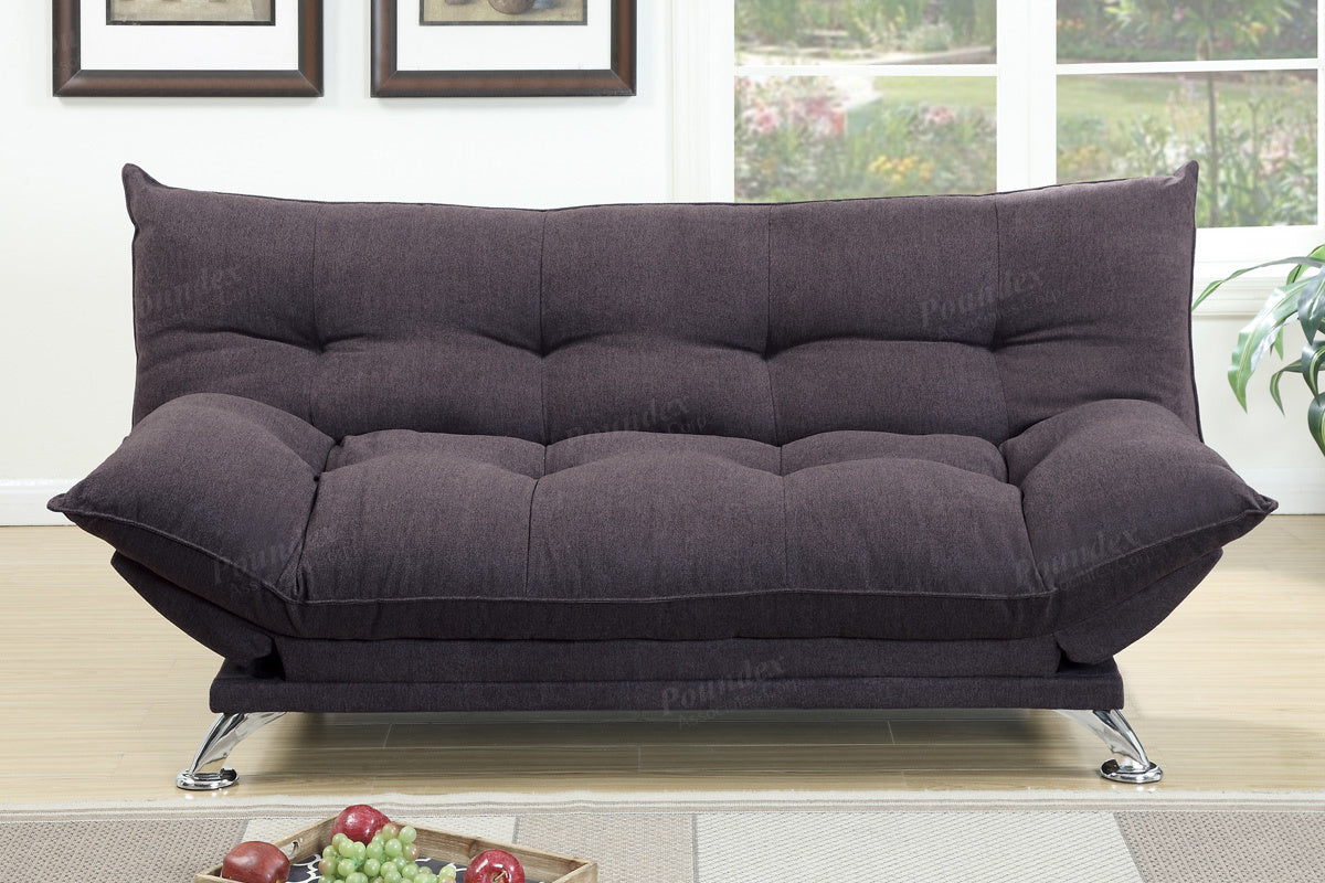 Poundex Dark Coffee Velvet Fabric Futon Sofa Bed