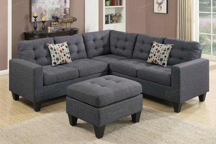 Poundex Blue Grey Polyfiber Sectional Sofa with Ottoman