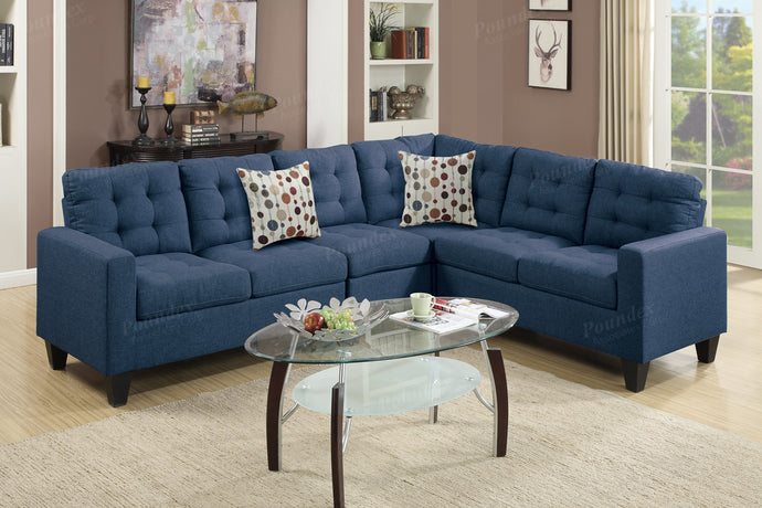 Poundex Navy Fabric Sectional Sofa Couch Set