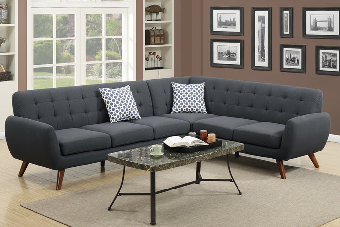 Poundex Ash Black Polyfiber Finish Sectional Sofa