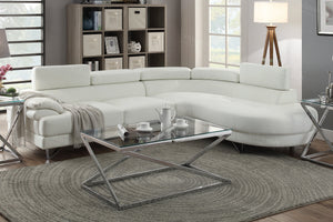 Poundex White Bonded Leather Raf Chaise Sectional Sofa