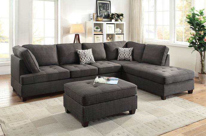 Poundex Ash Black Dorris Fabric Sectional Sofa Ottoman Set