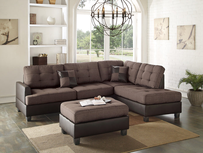 Poundex Chocolate Polyfiber Reversible Sectional with Ottoman