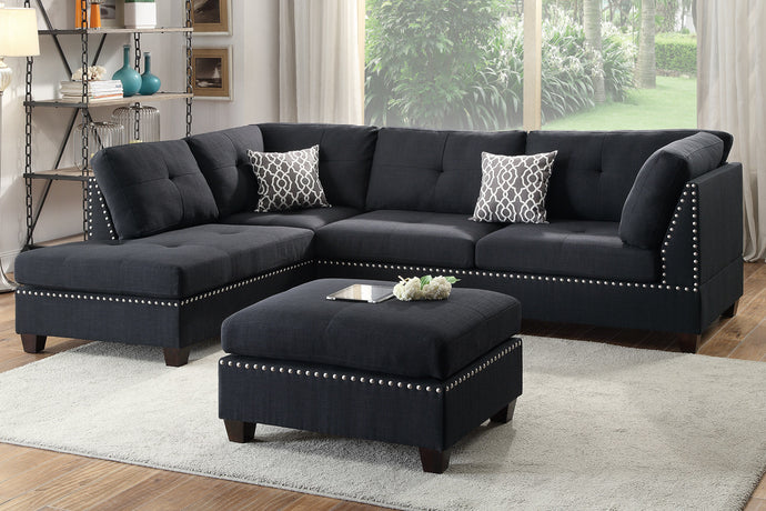 Poundex Black Polyfiber Sectional Ottoman Sofa Set