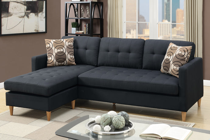 Poundex Black Polyfiber Reversible Sectional Sofa