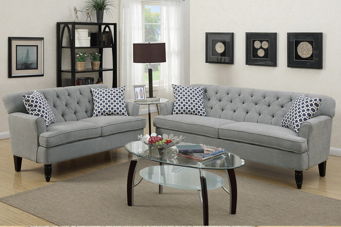 Poundex 2 Piece Taupe Velveteen Fabric Sofa Set
