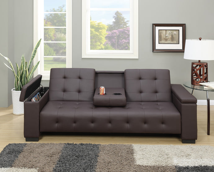 Poundex Espresso Faux Leather Finish Futon Sofa With Console
