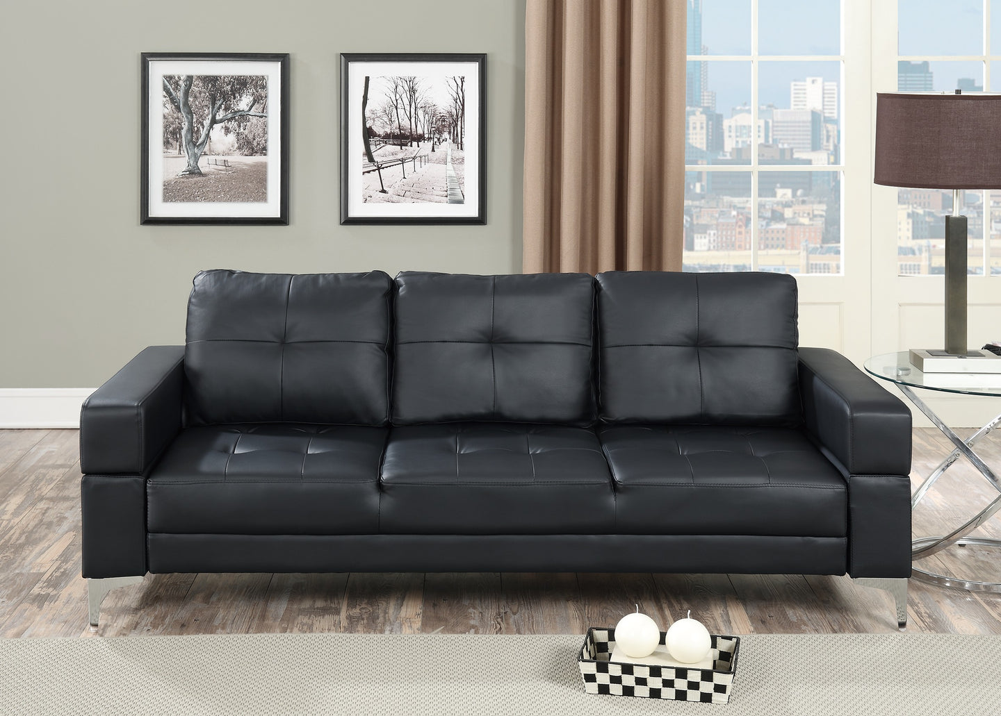 Poundex Black Faux Leather Adjustable Sofa Bed