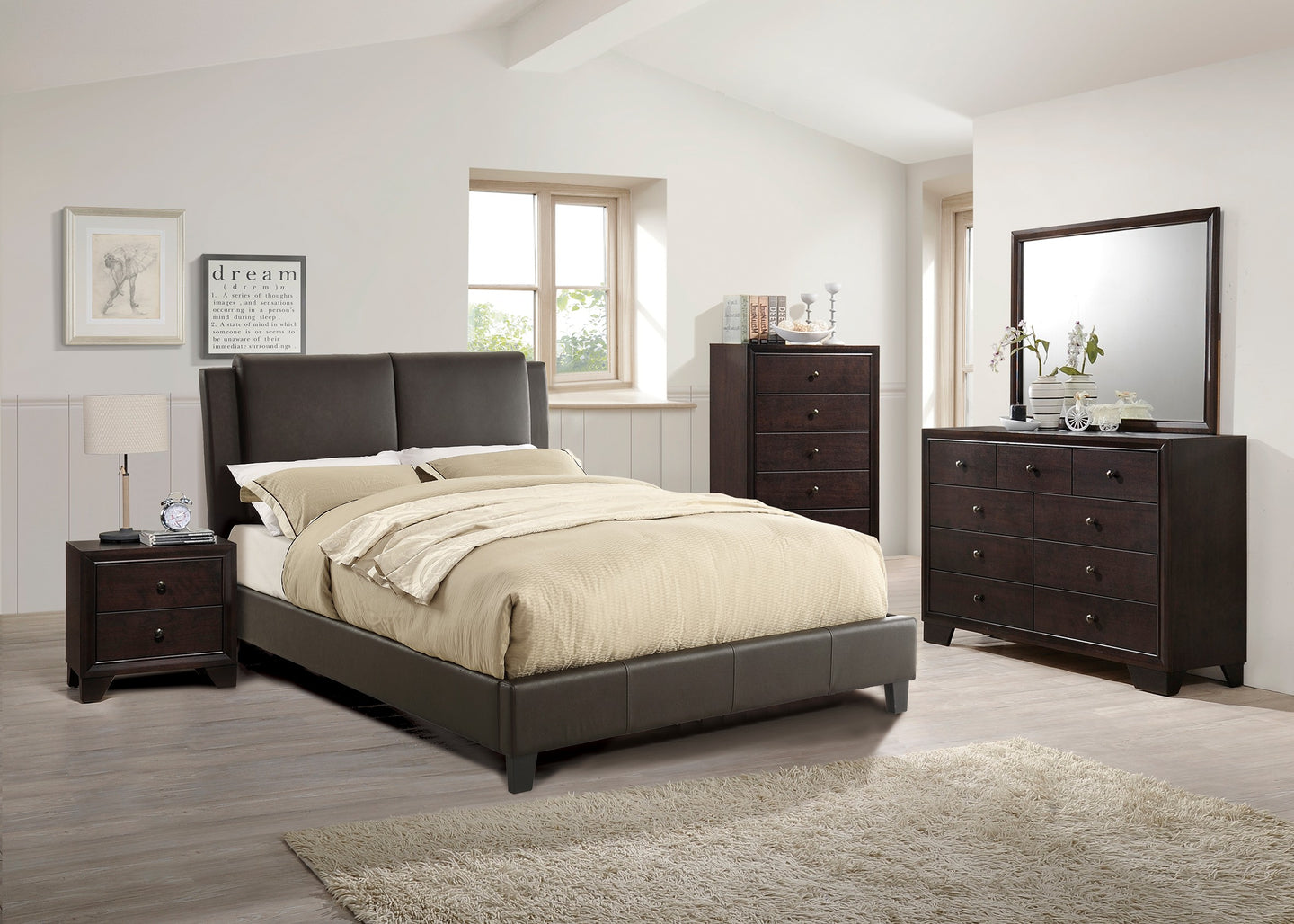 Poundex Brown Bonded Leather California King Bed