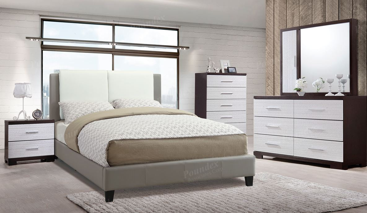 Poundex Grey And White Faux Leather California King Bed