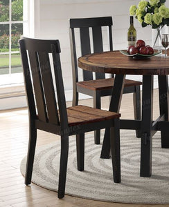 Poundex Dark Brown Wood Finish 2 Piece Dining Chair