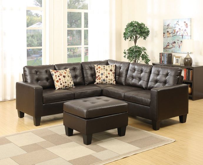 Poundex Modular Espresso Bonded Leather Sectional Sofa with Ottoman