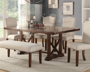 Poundex Cherry Wood Leaf Dining Table