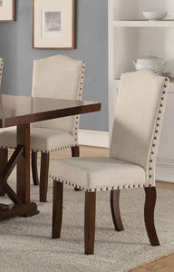 Poundex Cream Fabric And Wood Finish 2 Piece Dining Chair
