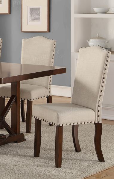 Poundex Dining Chair Set Of Cream Trim