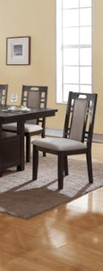 Poundex Ebony And Gray Wood Finish 2 Piece Dining Chair