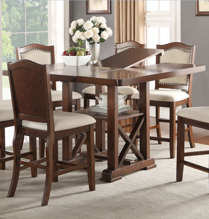 Poundex Dark Cherry Wood Storage Counter Height Dining Table Leaf