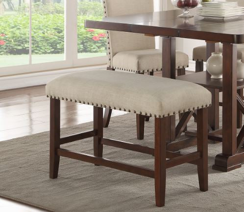 Poundex Cream Polyester And Wood Finish Counter Height Dining Bench