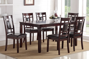 Poundex Espresso Wood Leatherette 7 Piece Casual Dining Set