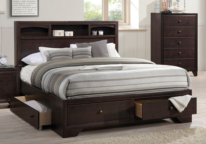 Poundex Brown Rubber Wood King Bed Underbed Drawers