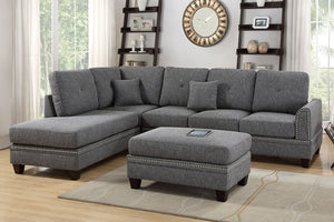 Poundex Ash Black Polyfiber Reversible Chaise Sectional Sofa