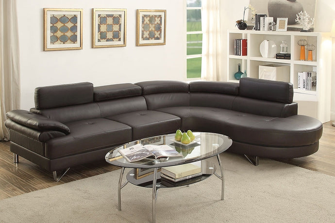 Poundex Espresso Faux Leather RAF Sectional Sofa