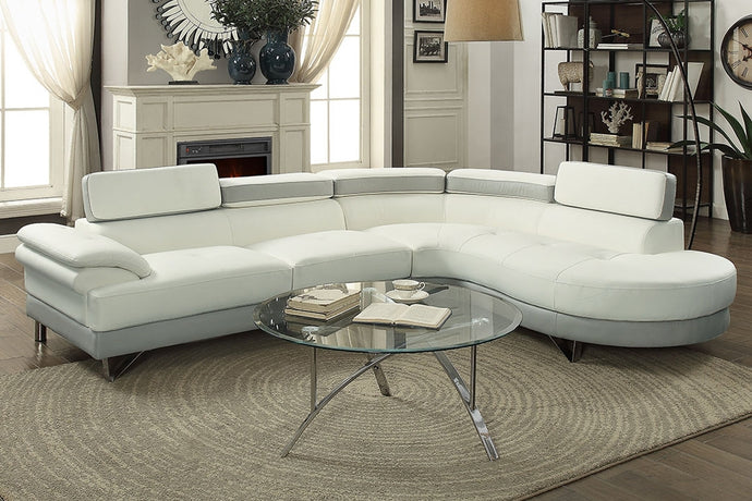 Poundex White & Light Grey Faux Leather RAF Sectional Sofa