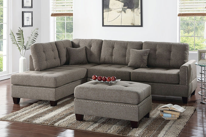 Coffee Fabric Reversible Chaise Sectional Sofa Ottoman Set