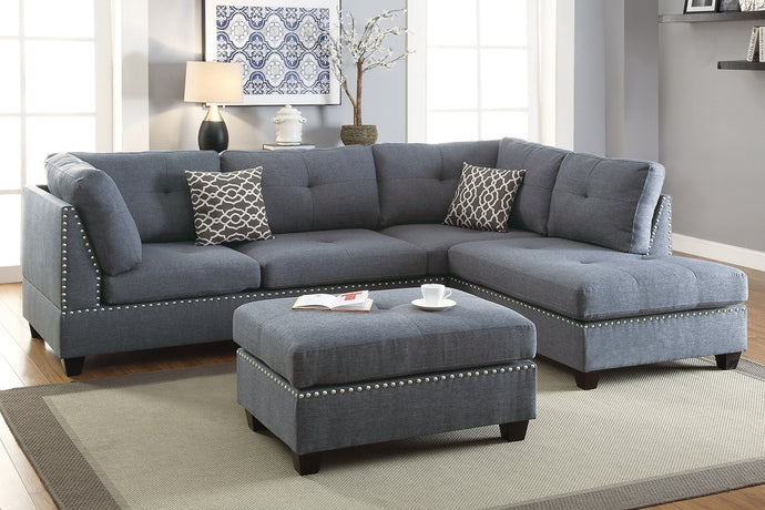 Poundex Blue Grey Fabric Reversible Chaise Sectional Sofa Ottoman Set