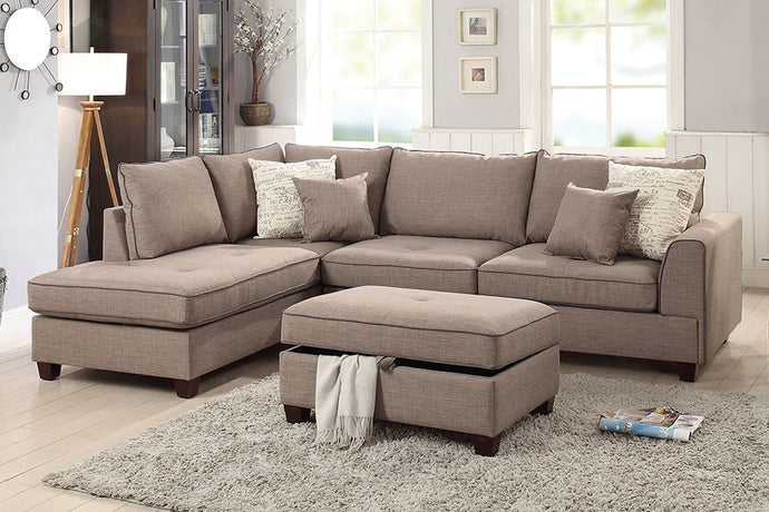 Poundex Mocha Dorris Fabric Sectional Sofa with Ottoman