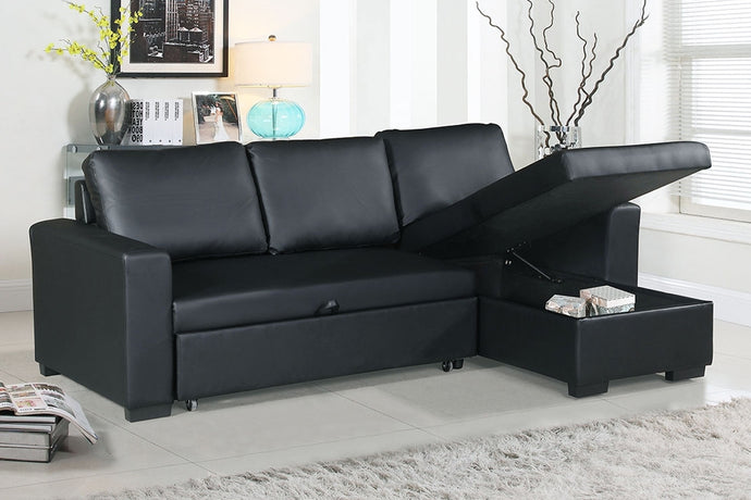 Poundex Black Faux Leather Convertible Sectional Sofa Bed