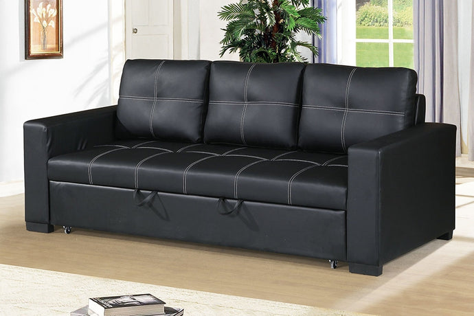 Poundex Black Faux Leather Convertible Sofa Bed