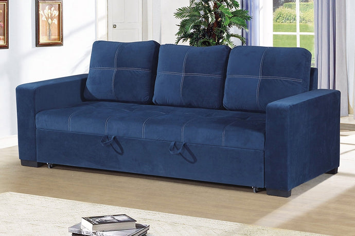 Poundex Navy Polyfiber Convertible Sofa Bed