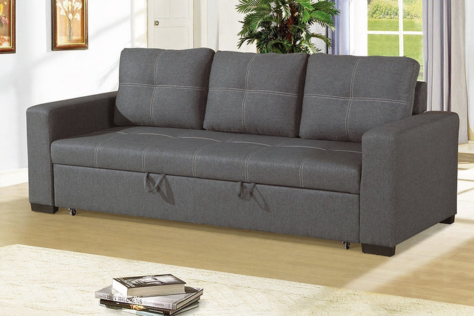 Poundex Blue Grey Polyfiber Convertible Sofa Bed
