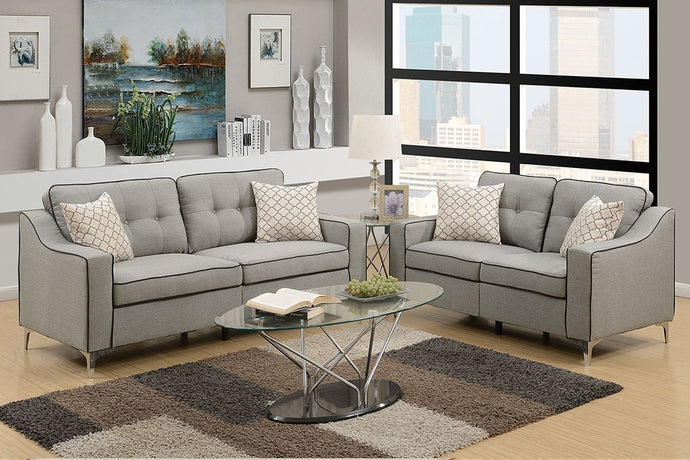 Poundex Light Grey Polyfiber 2 Pieces Sofa Loveseat Set