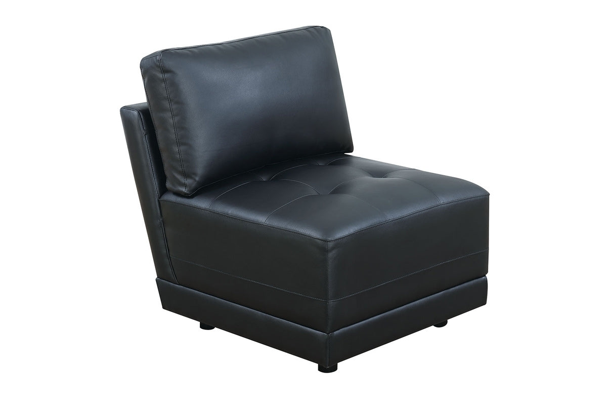 Poundex Black Bonded Leather Armless Chair